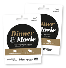 buy the dinner movie gift card pack online in australia good food gift card